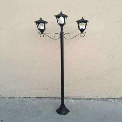 3-Light Outdoor Black Solar Integrated LED Lamp Post