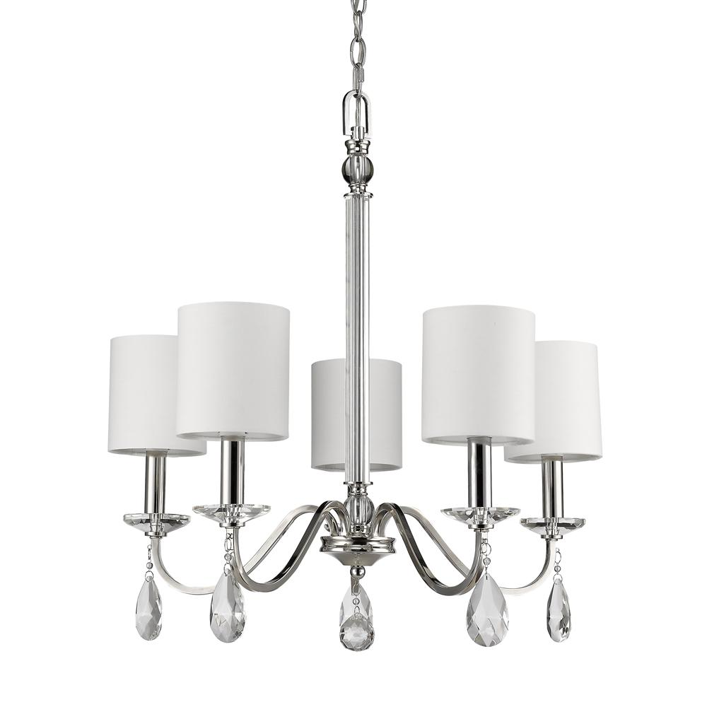 Acclaim Lighting Lily 5-Light Indoor Polished Nickel Chandelier with Shades and Crystal Pendants