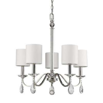 Lily 5-Light Indoor Polished Nickel Chandelier with Shades and Crystal Pendants