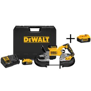 Click here to buy Dewalt 20-Volt MAX XR Lithium-Ion Cordless Brushless Deep Cut Band Saw w/ (2) Batteries 5Ah, Charger and Bonus Battery... by DEWALT.