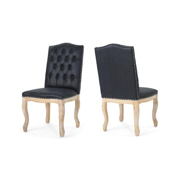 Noble House Delavan Traditional Tufted Navy Blue Microfiber Dining Chairs with