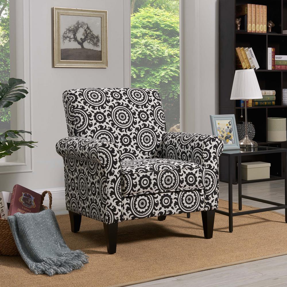 Handy Living Jean Black and Cream Medallion Arm Chair B340C ...