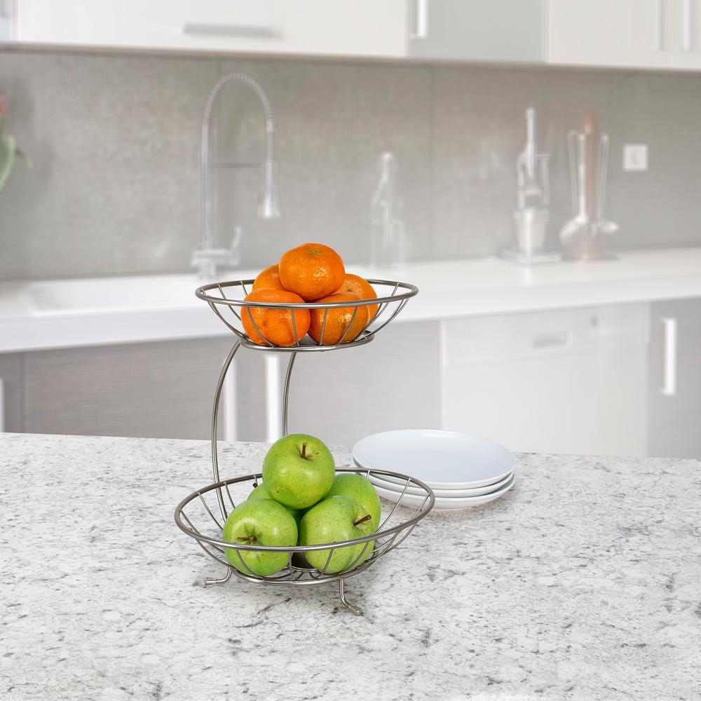 2 Tier Satin Nickel Fruit Baskets Tiered Server Spectrum Diversified Yumi Fruit Stand