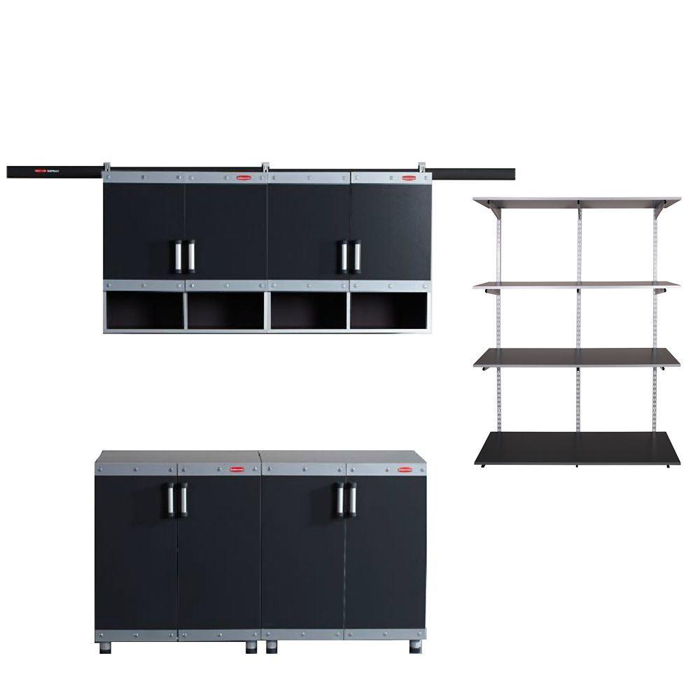 Rubbermaid FastTrack Garage Laminate Cabinet Set with Shelving in Black/Silver (4-Piece  sc 1 st  The Home Depot & Rubbermaid FastTrack Garage Laminate Cabinet Set with Shelving in ...
