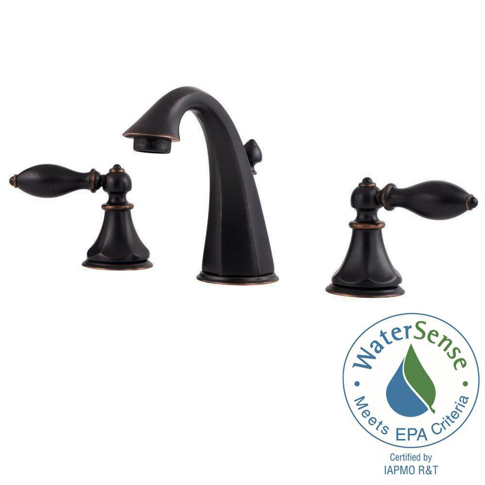 Pfister Catalina 8 in. Widespread 2-Handle High-Arc Bathroom Faucet in Tuscan Bronze