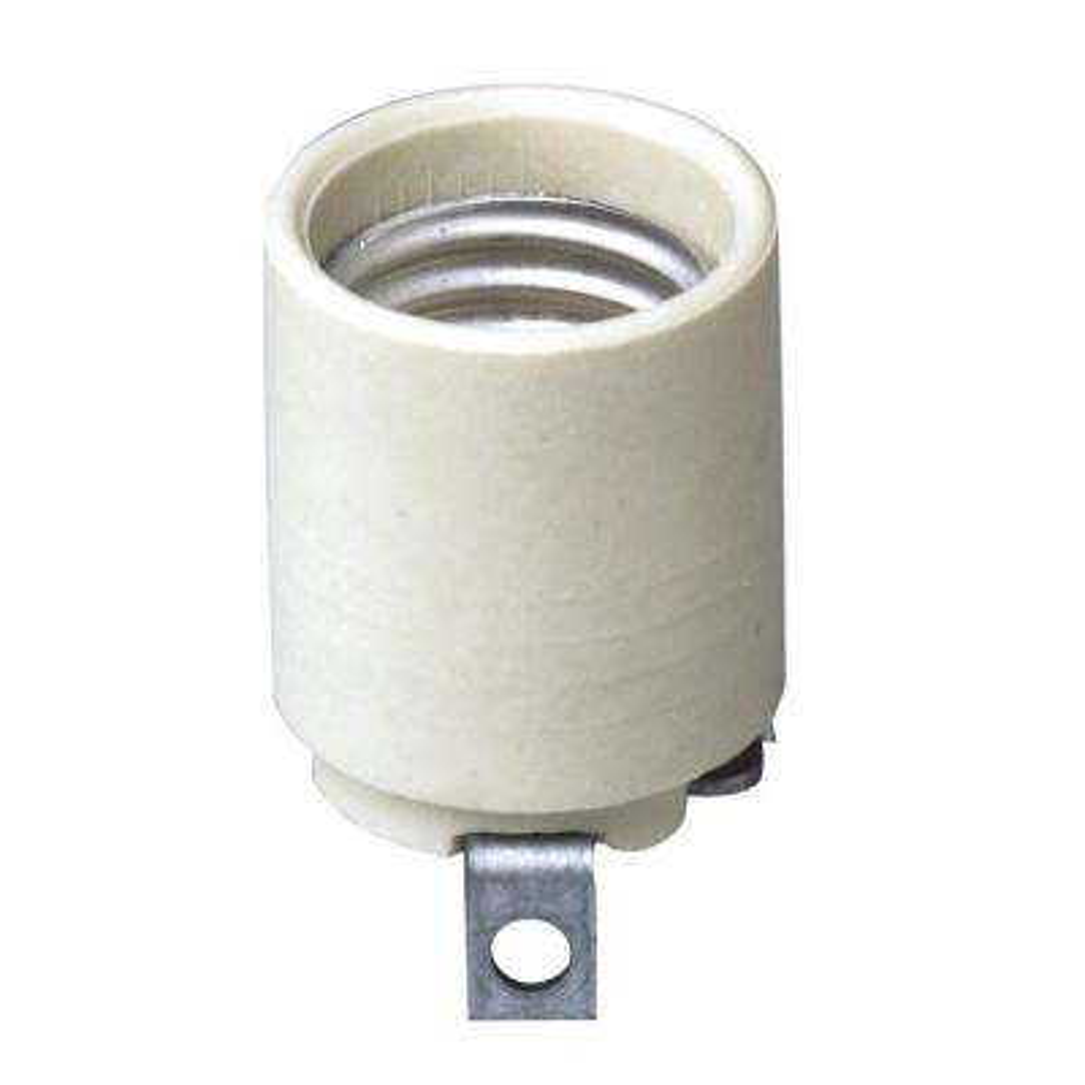 660W Medium Base One-Piece Single Circuit Keyless Bracket Mount Unglazed Porcelain Incandescent Lampholder, White