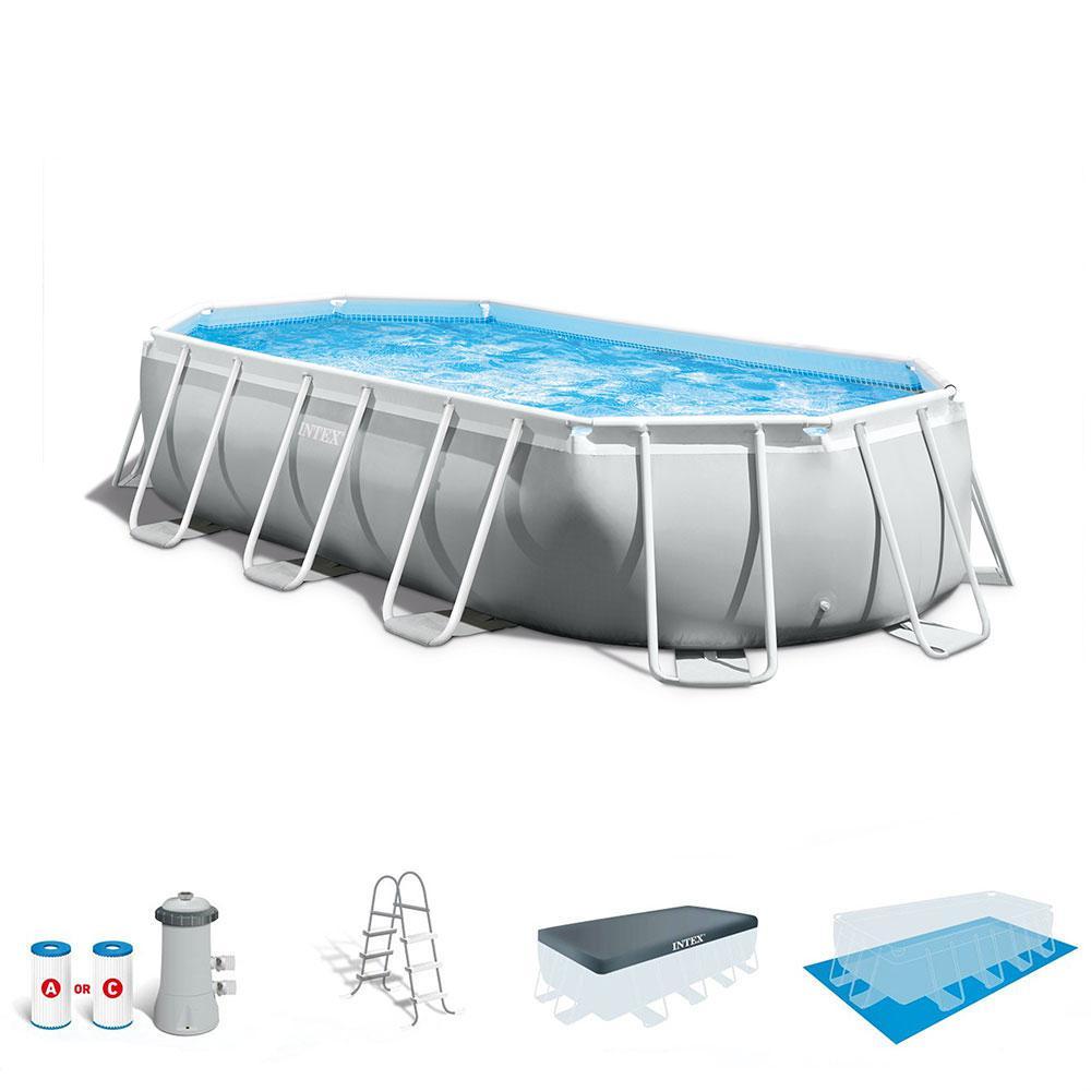 Intex 16.5 x 4 ft. Prism Frame Rectangular Above Ground Swimming Pool Pump Set