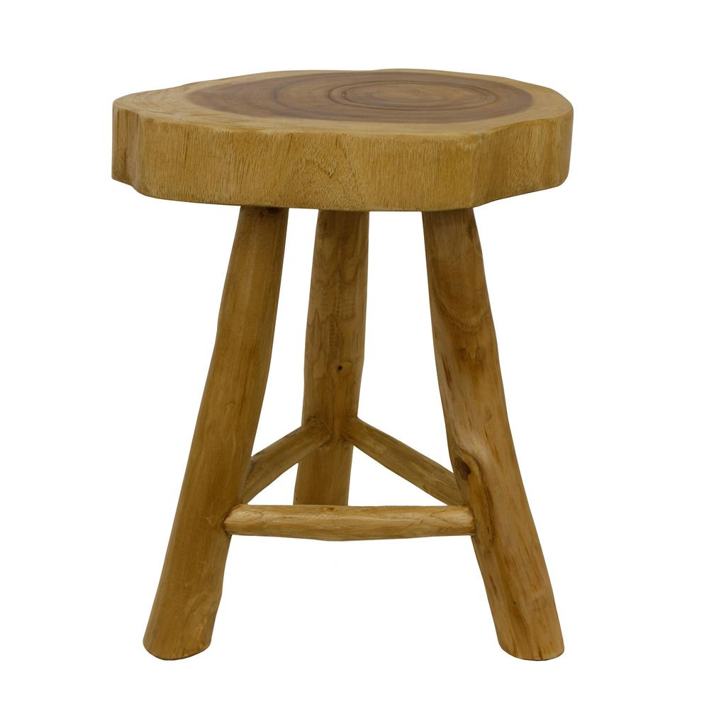 Decor Therapy Natural Wooden Stool Fr7463 The Home Depot