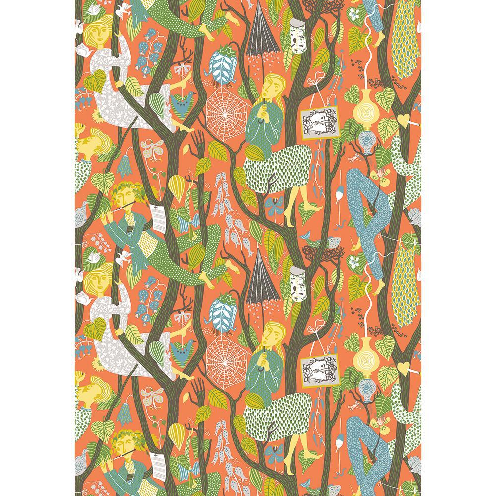 8 in. x 10 in. Melodi Orange Folk Wallpaper Sample WV1755SAM