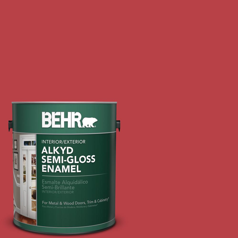 1 gal. #HDC-MD-16 Cherry Red Semi-Gloss Enamel Alkyd Interior/Exterior Paint