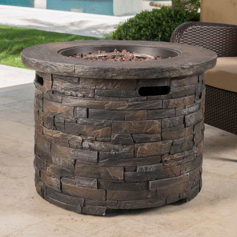 Noble House Blaeberry 34.5 in. x 24 in. Natural Stone Circular Gas Outdoor Firepit