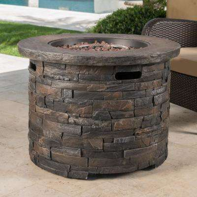 Blaeberry 34.5 in. x 24 in. Natural Stone Circular Gas Outdoor Firepit