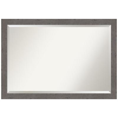 Medium Rectangle Distressed Grey Beveled Glass Modern Mirror (27.25 in. H x 39.25 in. W)