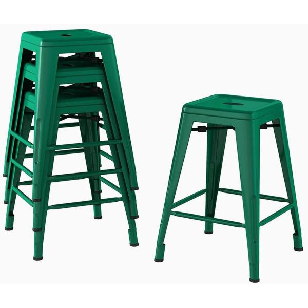 24 in. Green Metal Bar Stools Stackable Counter Backless Height Bar Stools (Set of 4)