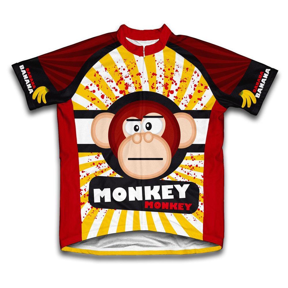 Unisex Medium Red/Yellow Crazy Banana Monkey Microfiber Short-Sleeved Cycling Jersey