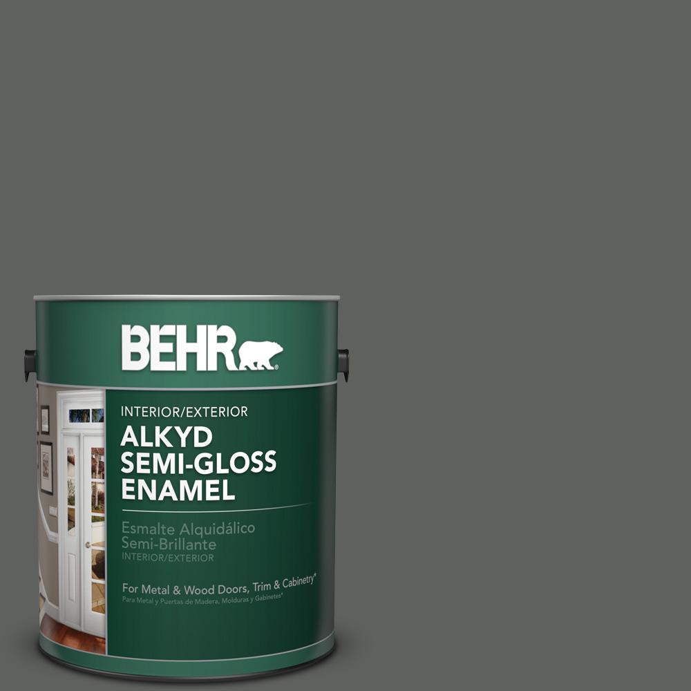 1 gal. #N460-6 Hematite Semi-Gloss Enamel Alkyd Interior/Exterior Paint