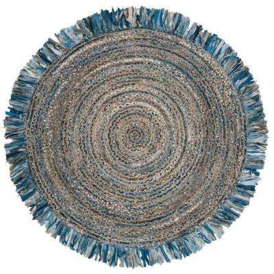 Cape Cod Ivory/Denim 5 ft. x 5 ft. Round Area Rug