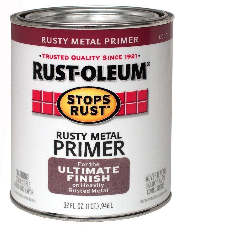 Rust Oleum Stops Rust 1 Qt Flat Rusty Metal Primer 7769502 The Home Depot