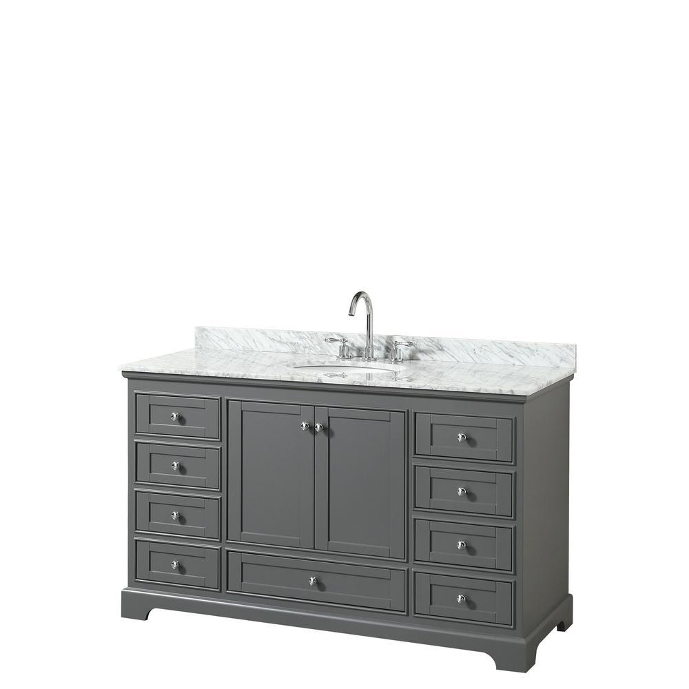Deborah 60 in. Single Bathroom Vanity in Dark Gray with Marble Vanity Top in White Carrara with White Basin