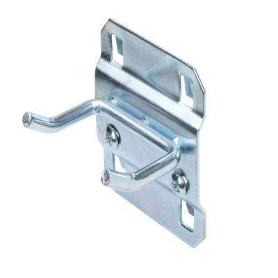 1 in. Double Rod 30 Degree Bend 3/16 in. Dia Zinc Plated Steel Pegboard Hook (5-Pack)