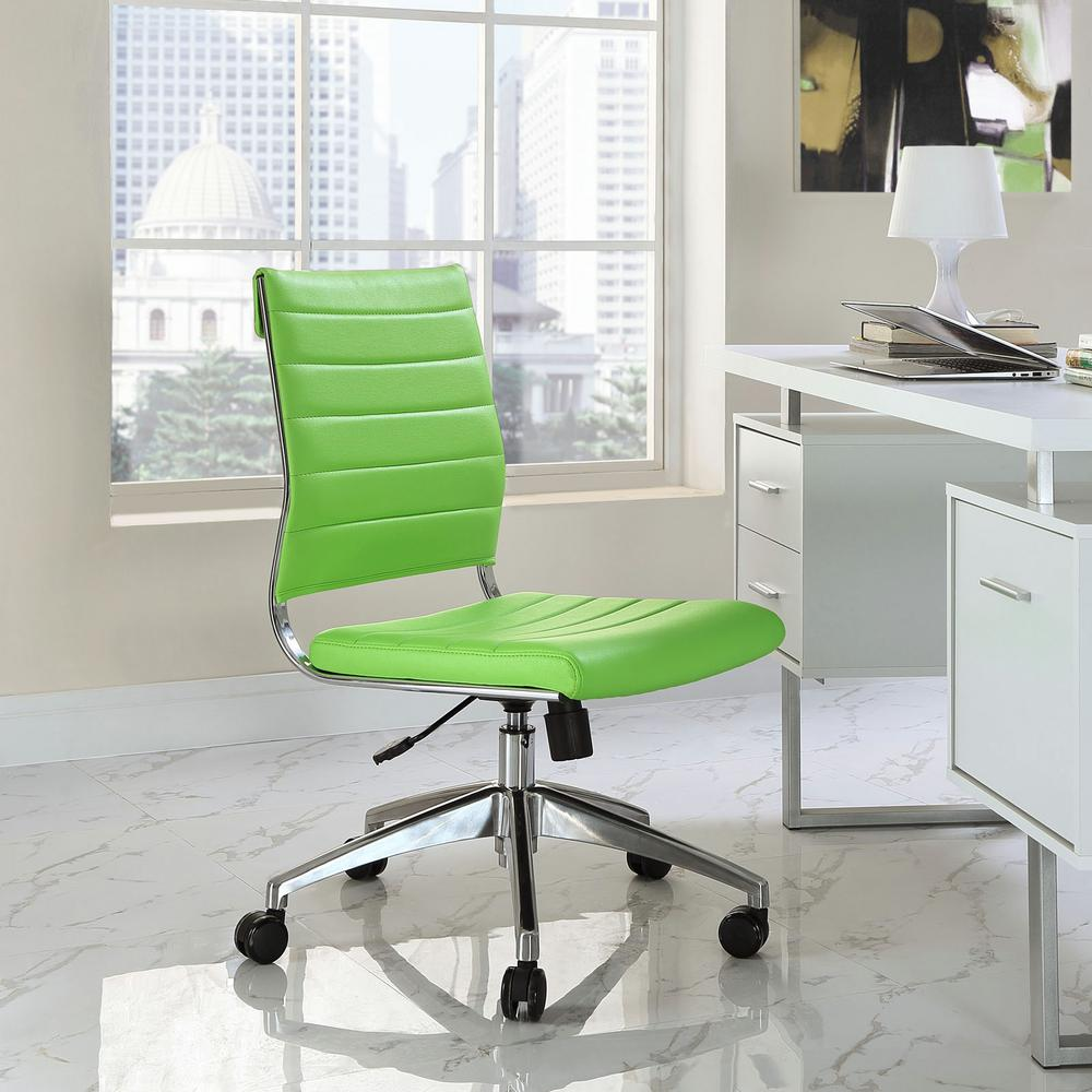 MODWAY Jive Armless Mid Back Office Chair In Bright Green