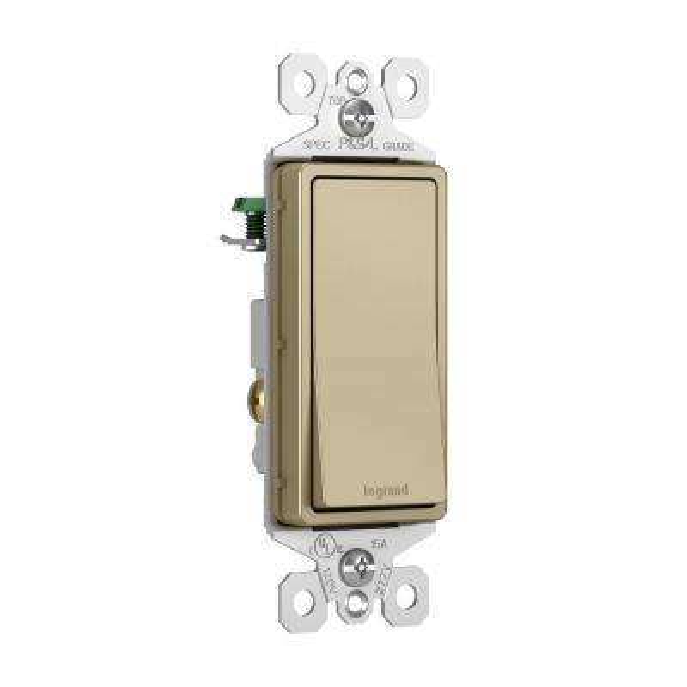 15 Amp Single Pole Decorator Rocker Switch, Antique Brass