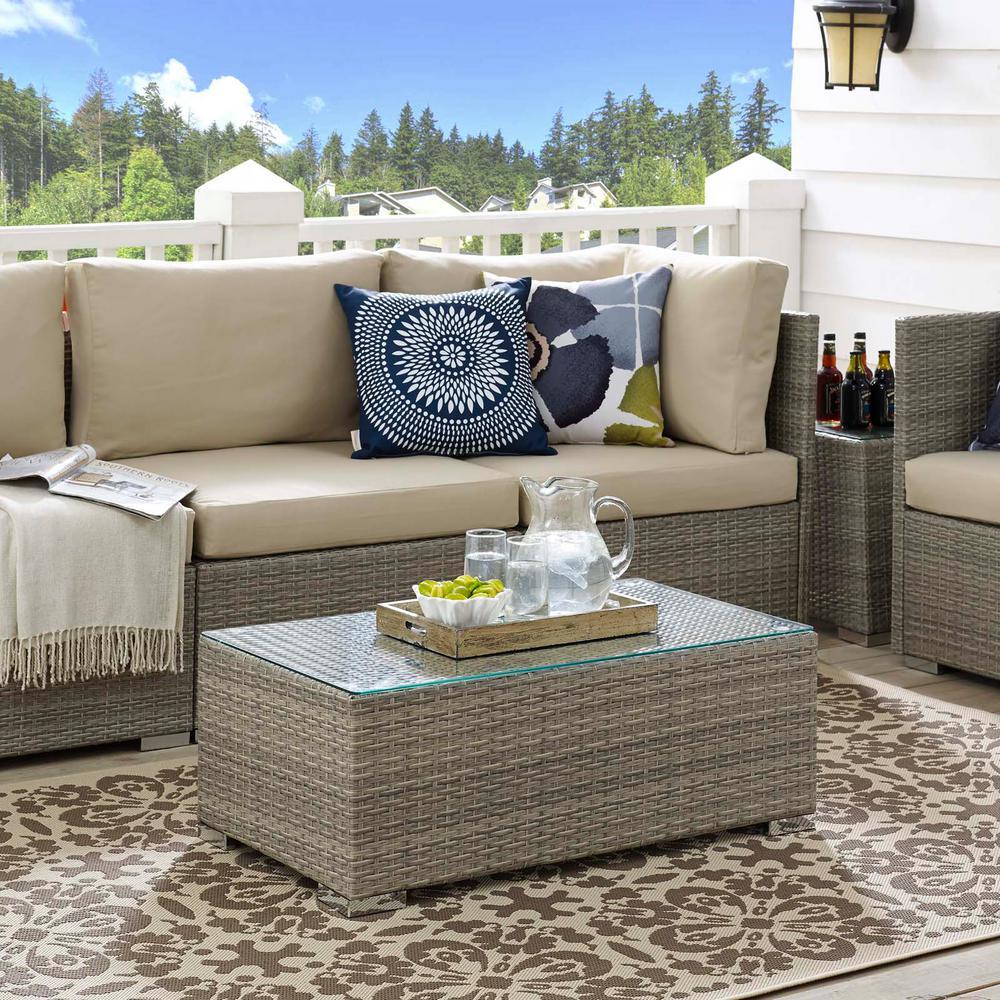 Repose Patio Wicker Outdoor Coffee Table in Light Gray