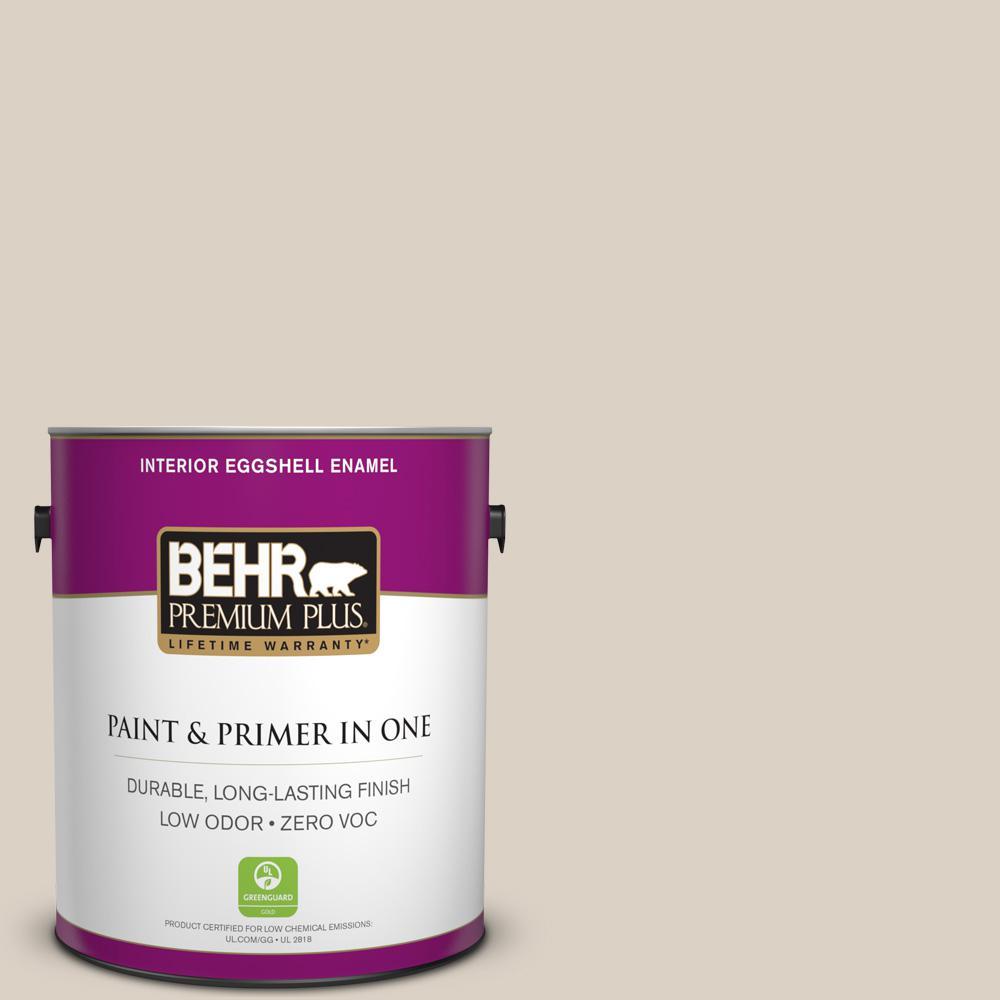 BEHR Premium Plus 1-gal. #730C-2 Sandstone Cove Zero VOC Eggshell Enamel Interior Paint