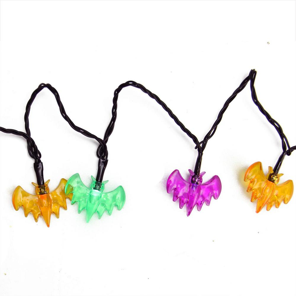 4.75 in. LED B/O Multi-Color Bat Halloween Lights (10-Set)