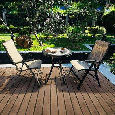 Brown 3-Piece Aluminum Sling Folding Chair and Round 28 in. H Porcelain Tabletop Table Outdoor Bistro Set
