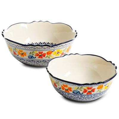Luxembourg 8 in. and 10 in. 32 fl. oz. and 64 fl. oz. Multicolored Stoneware Serving Bowls (Set of 2)