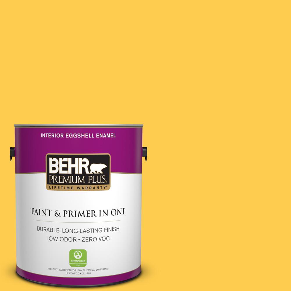 BEHR Premium Plus 1-gal. #340B-6 Pineapple Soda Zero VOC Eggshell Enamel Interior Paint