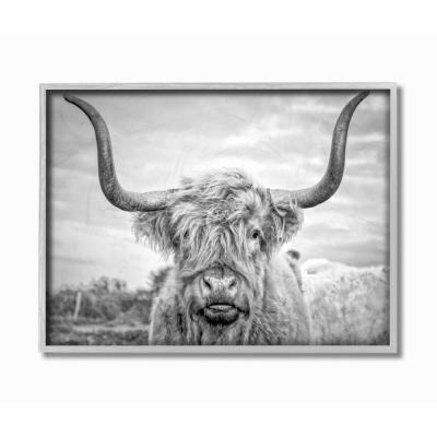 """16 in. x 20 in. """"Black and White Highland Cow Photograph"""" by Joe Reynolds Framed Wall Art"""