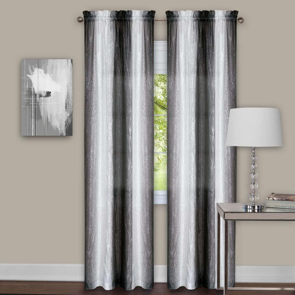 Sheer Sombre Black / White Window Curtain Panel Pair - 40
