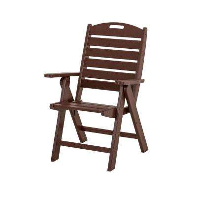 Nautical Highback Mahogany Plastic Outdoor Patio Dining Chair