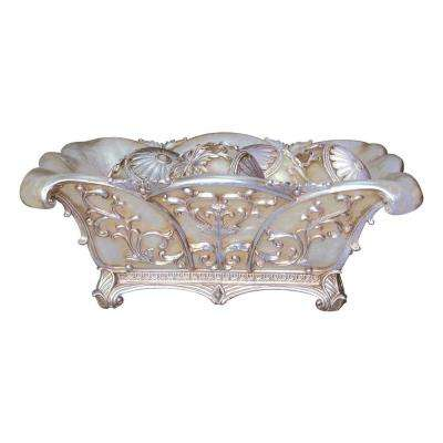 Ivory Greco Polyresin Decorative Bowl With Spheres