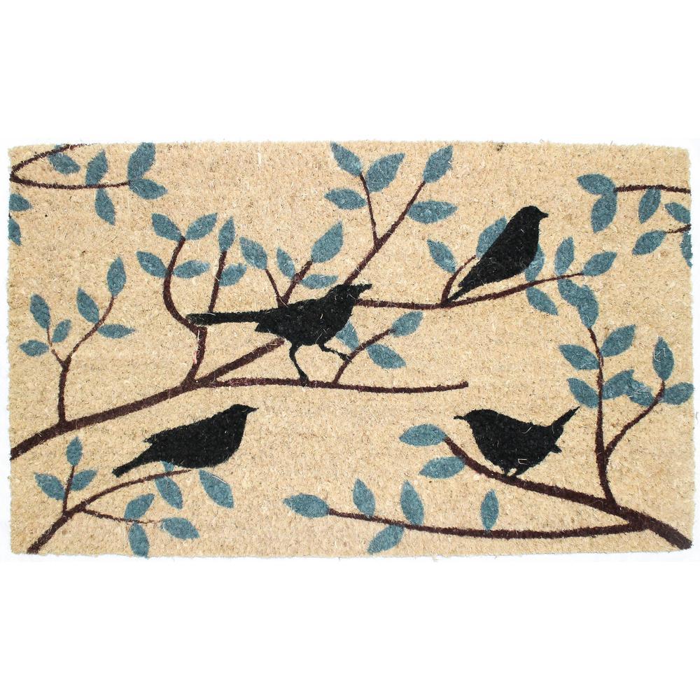 Delicieux Birds Vinyl Back Coco Door Mat