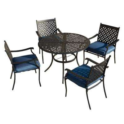 5-Piece Metal Outdoor Dining Set with Blue Cushions