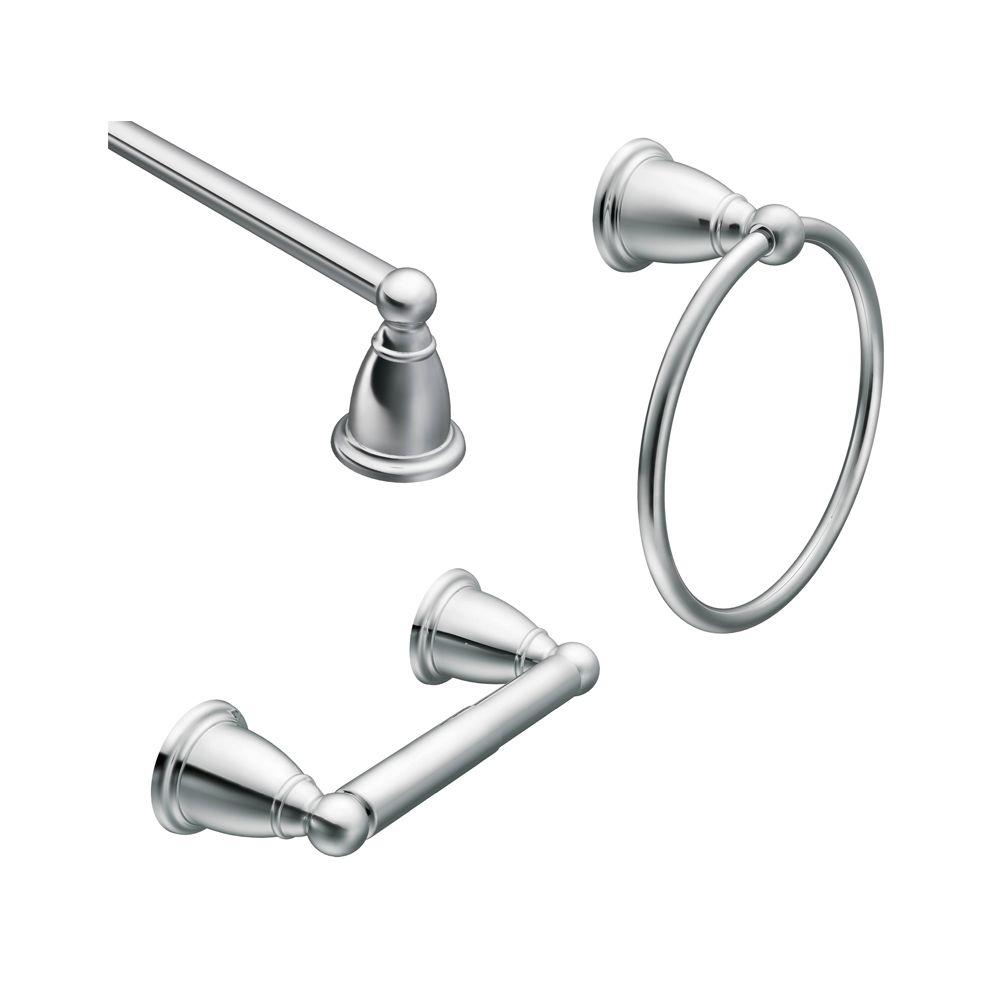 Brantford 3-Piece Bath Hardware Set with 24 in. Towel Bar, Paper