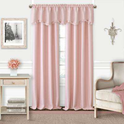 Adaline Soft Pink Polyester Single Blackout Window Curtain Panel - 52 in. W x 95 in. L