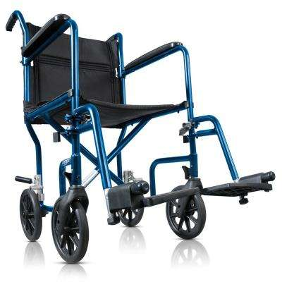Portable Lightweight Transport Wheelchair with Detachable Footrests, Midnight Blue