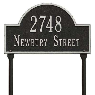 Arch Marker Standard Black/Silver Lawn 2-Line Address Plaque