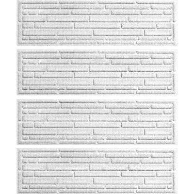 White 8.5 in. x 30 in. Broken Brick Stair Tread Cover (Set of 4)