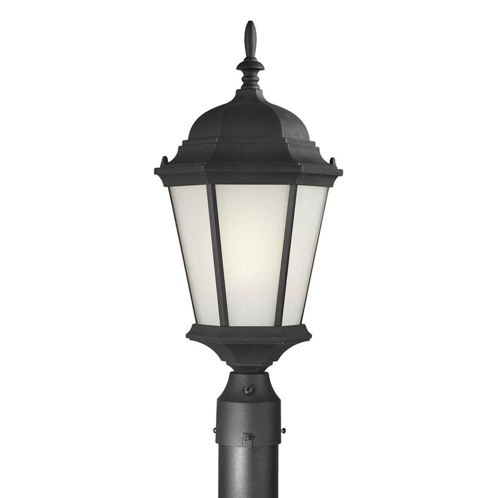 Talista 1-Light Black Outdoor Post Light with Clear Beveled Glass Panels