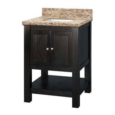 Gazette 25 in. x 19 in. Vanity in Espresso with Granite Vanity Top in Giallo Ornamental with White Sink