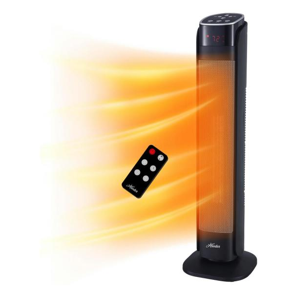 30 in. 1,500-Watt 5,118 BTUs Ceramic Electric Deluxe Digital Tower Heater with Remote Control