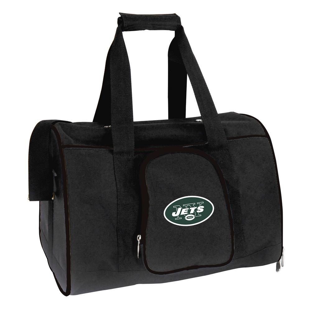 Denco NFL New York Jets Pet Carrier Premium 16 in. Bag in Black, Team Color