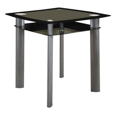 Black and Silver Square Glass Top Counter Height Dining Table with Metal Legs