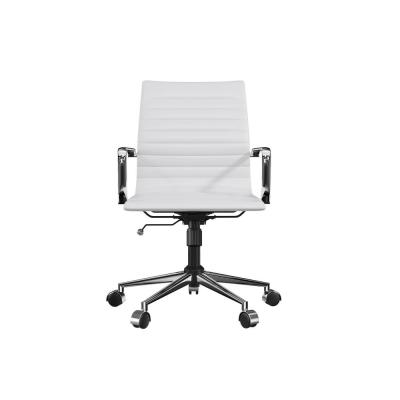White Swivel Mid Back Vegan Leather Ergonomic Chairs, Office Desk Chair with Adjustable Height and Lumbar Support