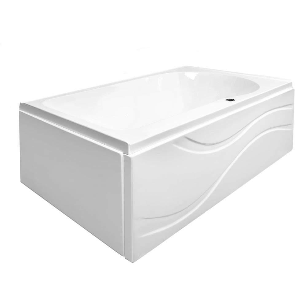Ella Solo 60 in. L Acrylic with Left Drain Rectangular Alcove Infusion MicroBubble Air Bath Bathtub in White